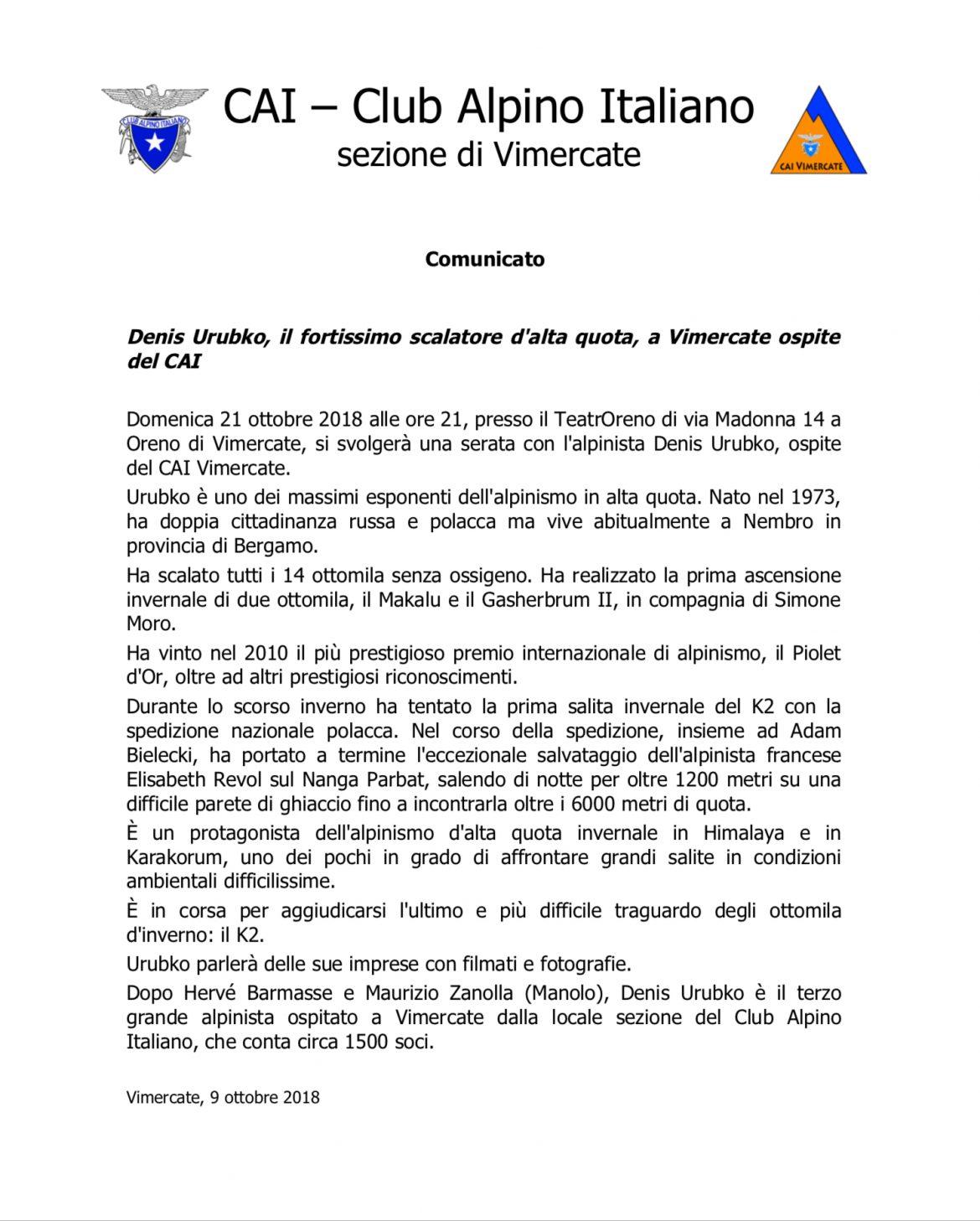 SERATA DI GRANDE ALPINISMO: DENIS URUBKO ospite del CaiVimercate