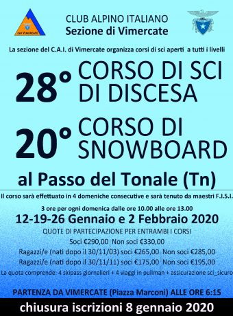 28^ CORSO SCI DISCESA e 20^ CORSO DI SNOWBOARD AL PASSO DEL TONALE